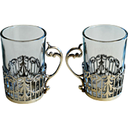 Antique Silver Mini Tea Glass Holders, with Glasses, Sheffield, 1917
