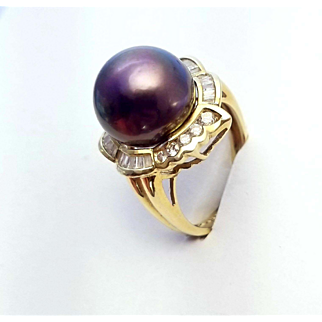 CERTIFIED Peacock 12.5 Tahitian Pearl .74 ct Diamonds 18k Gold Ring sz. 7