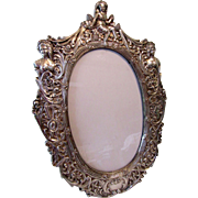 "Large 13"" Vintage Sterling Silver Repousse Figural Picture Frame"