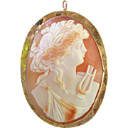 Big Antique 1870 Cameo Italy 18k Gold Pendant Brooch Orpheus Shell Pin