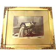 Antique Victorian Photograph Little Girl with Mother Playing Piano Gold Picture Frame