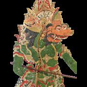"34"" Antique 1850 Java Theater Leather Shadow Puppet Wayang Kulit Folk Art"