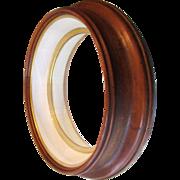 "Big 20"" Round Victorian Walnut Shadow Box Picture Frame Deep Display"