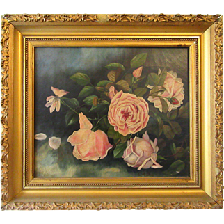 Antique Victorian Floral Roses Oil Painting Gold Gilt Frame Country Folk Art Signed