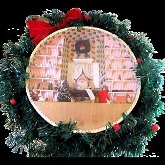 Vintage Christmas Roombox Diorama Santa Toys Folk Art Miniature Display