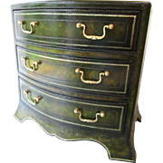 Vintage Maitland Smith Leather Chest Drawers Side Table Miniature Jewelry Silver