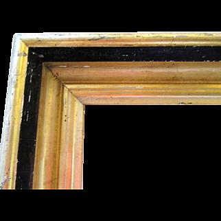 Antique Lemon Gold Gilt Picture Frame Fits 16x20 Wood Gesso Black Paint