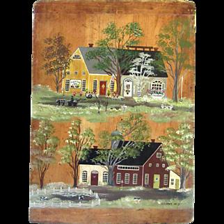 Primitive Vintage Original Oil Painting on Board Country Primitive Shops Signed Folk Art