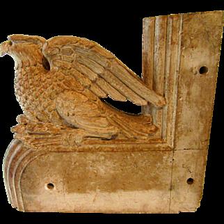 2 Large Antique Cast Alabaster Architectural Decorations Brackets Eagle Dragon French