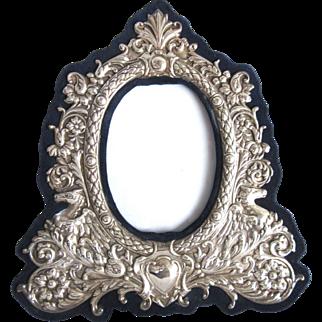 "Big 9"" Vintage Sterling Silver Figural Picture Frame Repousse Floral Easel"