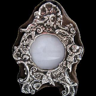 Ornate Vintage British Sterling Silver Miniature Picture Frame Cherub Bird