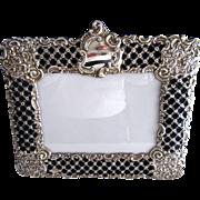 Big Ornate Repousse Vintage Sterling Silver Picture Frame Floral Easel Back Display