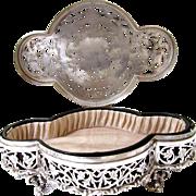 "Big 6.5"" Antique Sterling Silver English Jewelry Dresser Box Potpourri 1910 Ornate Reticulated"