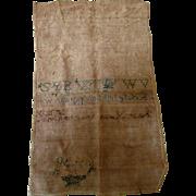 Early Folk Art White Work Band Sampler 1803 Country Primitive Linen Needlework