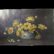 "12"" x 18"" Antique Folk Art Still Life Floral Oil Painting Country Primitive"
