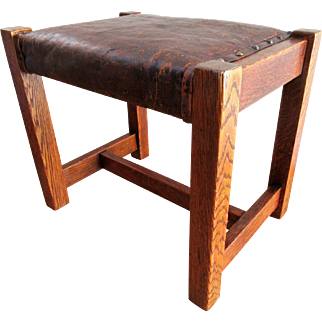 Antique Mission Oak Footstool Leather Upholstery Arts & Crafts Stool