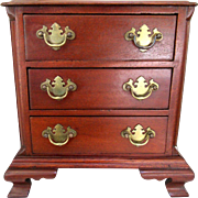 Antique Mahogany Chippendale Miniature Chest of Drawers Salesman's Sample Jewelry Box