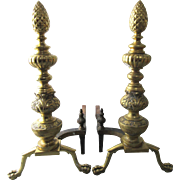 Large Pair Federal Revival Pine Cone Brass Andirons Ball and Claw Feet Fireplace Hearth Ware