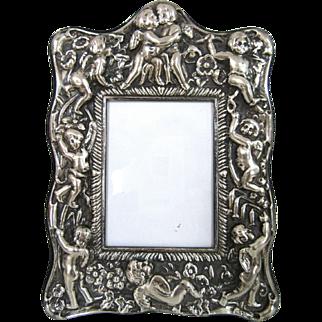 "7.75"" Ornate Vintage Sterling Silver Picture Frame Cherubs Repousse England Easel Back"
