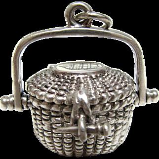 Vintage Glenaan Sterling Silver Nantucket Basket Pendant Clipper Ship Cape Cod Necklace
