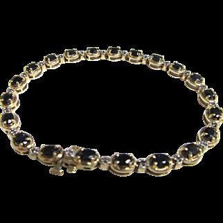 "Vintage 14k Yellow Gold Blue Sapphire and Diamond 7"" Tennis Bracelet"