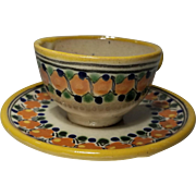 Vintage  Mexico Puebla Tavalera Pottery Hand Made Decorated Tea Cup Saucer