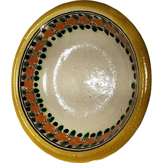 Vintage  Mexico Puebla Tavalera  Pottery Hand Made Decorated Bowl