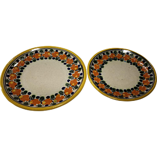 Lot of 2 Mexico Vintage Pottery Small Plates Talavera Mexico