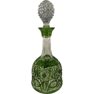 VIntage Bohemian Glass Decanter Cut to Clear