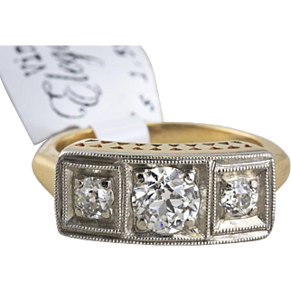 14k Two Tone Art Deco Ring with Old Style Cut Diamonds in Illusion Setting
