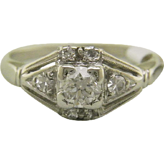 Vintage Art Deco Platinum Engagement Ring with Old European Cut Diamond