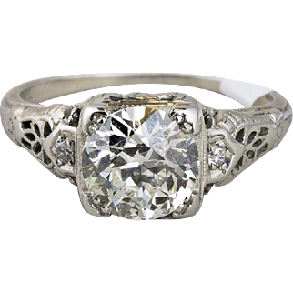 Vintage White Gold Old European Diamond Engagement Ring with Filigree Design