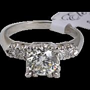 Vintage Platinum Engagement Ring with 1.20 carat Center Diamond