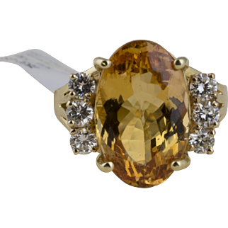 Oval Imperial Topaz Ring with Diamond Accents in 14k Yellow Gold