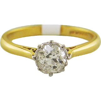 18k Yellow Gold Vintage Old Mine Diamond Solitaire Engagement with Platinum Crown