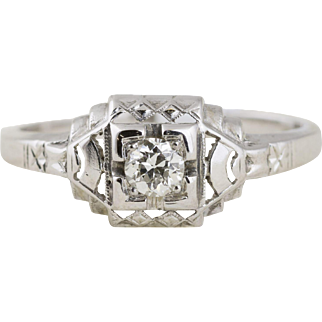 Art Deco Solitaire Diamond Engagement Ring in 18k White Gold with Filigree Accents