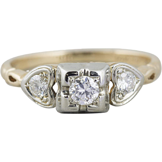 Two Tone Vintage Art Deco Diamond Engagement Ring