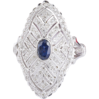 Vintage Filigree Sapphire and Diamond Ring in 18k White Gold