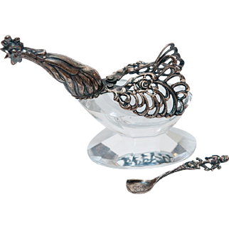 Crystal Rooster-Shaped Master Salt with Sterling Silver Wings