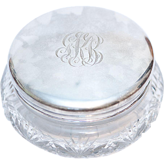 Antique Cut Crystal Powder Box with Paye & Baker Sterling Silver Lid
