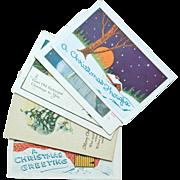 Set of Five Vintage Christmas Postcards