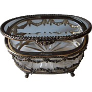 Vintage Sterling Silver & Crystal Jewellery Casket, Trinket Box  | TOPÁZIO Portugal