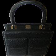 Classy Black Ostrich Leather Handbag. 1960's. Superb quality! Mint condition.