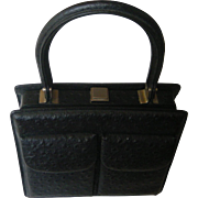 1960's Classy Black Ostrich Leather Handbag. Superb hand made quality! Mint condition.