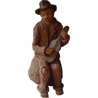 Vintage Portuguese Folk Art | The Street Musician - Painted Pottery Clay | Artisan Balé | 1983