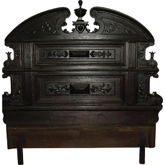 Bed headboard made with antique - mid 1800's - Hand Carved solid oak furniture panels