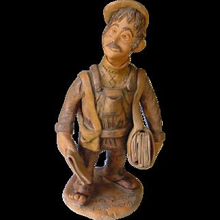 Vintage Portuguese Folk Art | The Newspaper Boy - Painted Pottery Clay | Artisan Josafaz | 1983