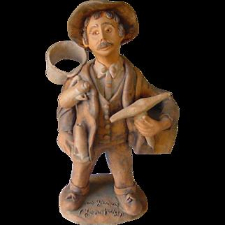 Vintage Portuguese Folk Art | The Tinsmith - Painted Pottery Clay | Artisan Josafaz | 1983