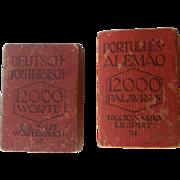 RARE Set of two LILIPUT Miniature Dictionaries  | Deutsch-Portugiesisch & Português-Alemão | 1920's