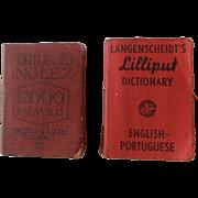 VERY RARE Set of two LILIPUT Miniature Dictionaries | Português-Inglez & English-Portuguese | 1920's-30's